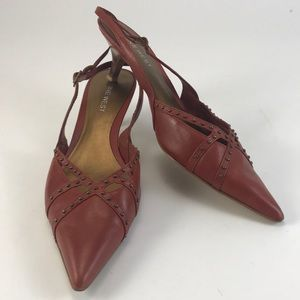 Nine West Reddish Brown Pointed Toe Heels